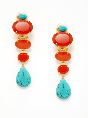 Carnelian and Turquoise Earings